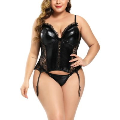 Oversized new lace splice PU hollow see through inelastic body corset(With G-Strings) Wholesale Two Piece Sets