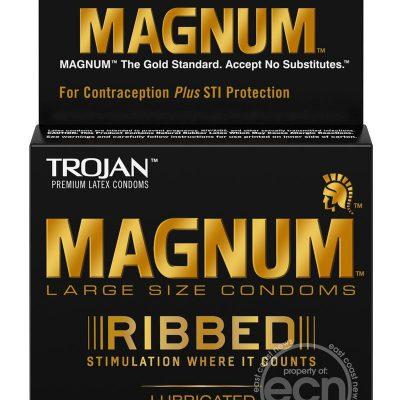 Trojan Magnum Ribbed Lubricated Latex Condoms 3-Pack Large