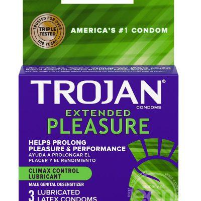 Trojan Extended Pleasure Premium Latex Condoms 3 Pack